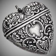 Ornate Heart Box Pendant Sterling Silver 1930