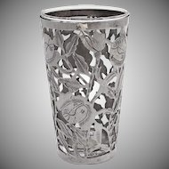 Mexican Drinking Glass Openwork Floral Frame Sterling Silver 1945