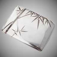 Japanese Bamboo Mixed Metals Cigarette Case 950 Sterling Silver Copper