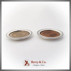 Vintage Coasters Pair Wooden Base Sterling Silver