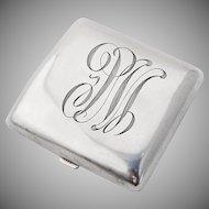 Vintage Monogrammed Curved Square Form Cigarette Case Sterling Silver