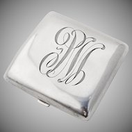 Vintage Monogrammed Curved Square Form Cigarette Case Sterling Silver