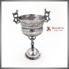 Peru Bolivia Engraved Footed Cup Llama Handles Spanish Colonial Silver 1800