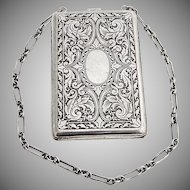 Vintage Acid Etched Scroll Pattern Compact Case Gilt Interior Watrous Sterling Silver