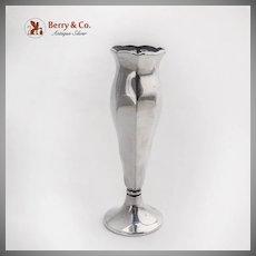 German Sterling Silver Bud Vase Wavy Octagonal Body Pedestal Base 1935