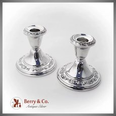 Strasbourg Candlesticks Pair Weighted Base Gorham Sterling Silver 1950