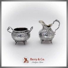 Baroque Floral Scroll Creamer Sugar Bowl 800 Silver 1890