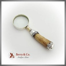 Grape Magnifying Glass Antler Handle J F Fradley Sterling Silver 1900