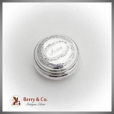 Round Engraved Pill Box English Sterling Silver Birmingham