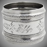 Engraved Napkin Ring Embossed Beaded Rims Coin Silver