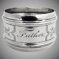 Engraved Napkin Ring Banded Rims Coin Silver 1870