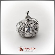 Indian Ornate Repousse Betel Nut Box Peacock Finial Sterling Silver 1900