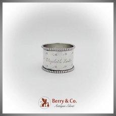 Four Leaf Clover Engraved Napkin Ring Beaded Rim Sterling Silver 1900