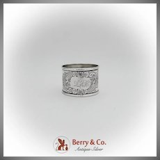American Coin Silver Floral Scroll Engraved Napkin Ring 1880