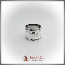 Beaded Rim Napkin Ring Watson Co Sterling Silver 1910