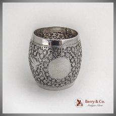 Engraved Chased Foliate Napkin Ring Barrel Shape Indian Sterling Silver 1920