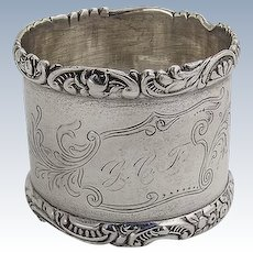 Engraved Napkin Ring Applied Scroll Rims Wood And Hughes Sterling Silver 1880