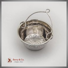 French Tea Strainer Basket Ribbon Foliate Rim Sterling Silver