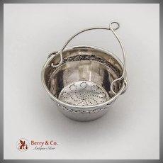 French Tea Strainer Basket Ribbon Foliate Rim Sterling Silver