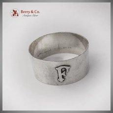 Arts And Crafts Hammered Napkin Ring Applied Monogram Shreve Co Sterling
