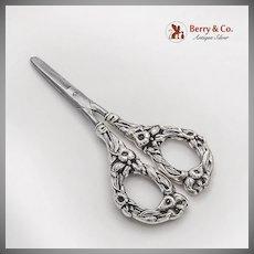 Art Nouveau Floral Grape Shears Polished Steel Blades Sterling Silver 1900s