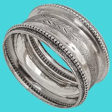 Matte Finish Engraved Napkin Ring Beaded Rim Coin Silver 1880