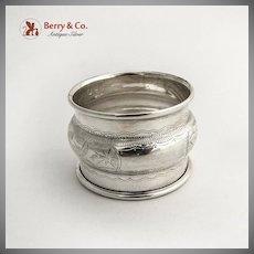 Engraved Foliate Napkin Ring Sterling Silver Birmingham 1925