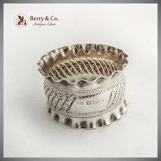 Repousse Napkin Ring Pie Crust Rim Sterling Silver Birmingham 1927
