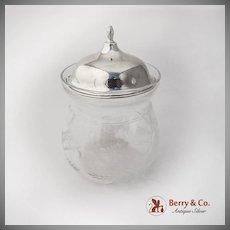 Vintage Cut Glass Jam Jar Sterling Silver Lid Watson Co 1940s