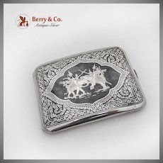 Thai Niello Cigarette Case War Elephants In Battle Scene Sterling Silver