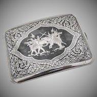 Thai Niello Cigarette Case War Elephants In Battle Scene Sterling Silver