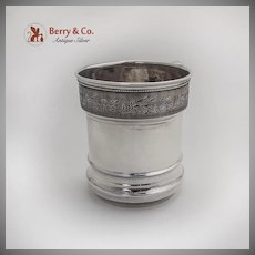 Engine Turned Engraved Band Childs Cup Duhme Co Coin Silver 1875 Cincinnati