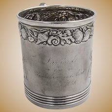 Hizen Engraved Childs Cup Figural Handle Gorham Sterling Silver 1888 Date Mark