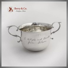 English Caudle Cup Cast Reverse C Scroll Handles Sterling Silver 1924 London
