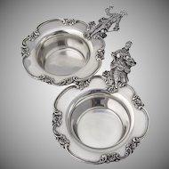 Courtship Wedding Bowls Pair Figural Handles Floral Scroll Rims Shreve Co Sterling