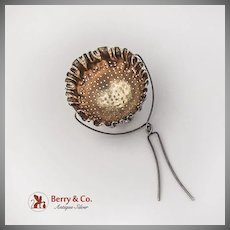 Antique Tea Strainer Basket Spout Insert Gilt Interior Gorham Sterling Silver