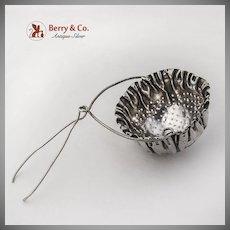 Pleated Rim Tea Strainer Basket Spout Insert Gorham Sterling Silver 1890