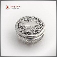 Art Nouveau Dresser Jar Cut Crystal Repousse Floral Shell Lid Sterling Silver
