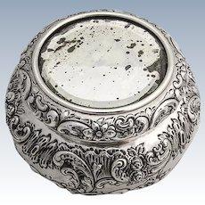 Art Nouveau Repousse Floral Scroll Dresser Jar Mirror Top Durgin Sterling Silver