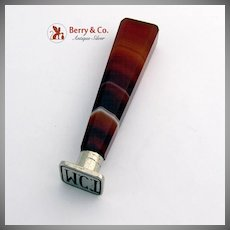 Faceted Banded Agate Wax Seal Nickel Plated Steel