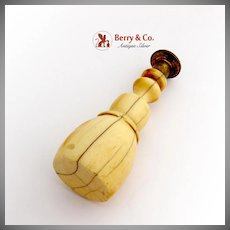 Herringbone Pattern Wax Seal Brass Carved Bone Handle