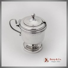 English Mustard Pot Cobalt Glass Liner Sterling Silver Birmingham 1922