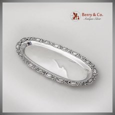 Baroque Floral Scroll Elongated Dresser Tray Sterling Silver 1900
