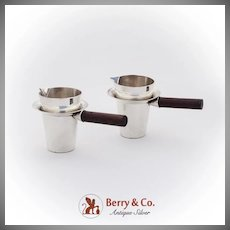Mexican Small Pitchers Pair Rose Wood Handles Sterling Silver