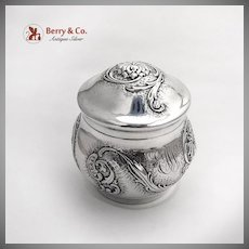 Vintage Chased Floral Scroll Tea Caddy Gilt Interior Sterling Silver