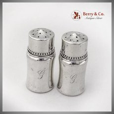 Small Beaded Salt Pepper Shakers Shreve Co Sterling Silver 1920