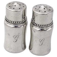 Small Beaded Salt Pepper Shakers Shreve Co Sterling Silver 1920