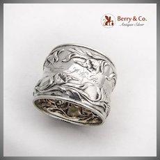 Art Nouveau Repousse Poppy Napkin Ring Sterling Silver 1900
