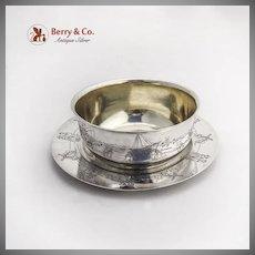 Dutch Children Scenes Childs Bowl Plate Set Gilt Interior Gorham Sterling Silver
