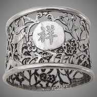 Openwork Foliate Floral Bird Napkin Ring Chinese Export Sterling Silver 1900